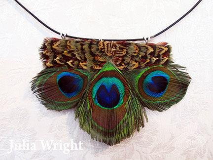 Peacock feather choker by Julia Wright