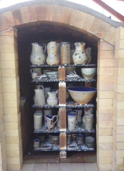 Loaded soda kiln after firing