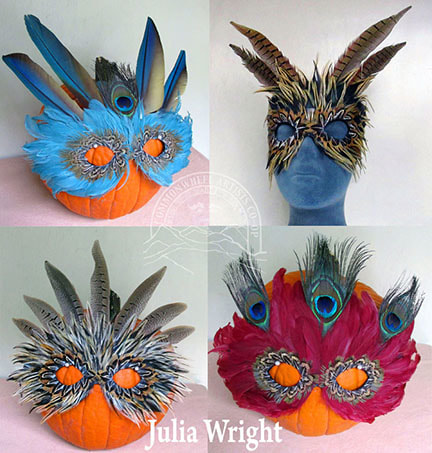 Feather masks by Julia Wright