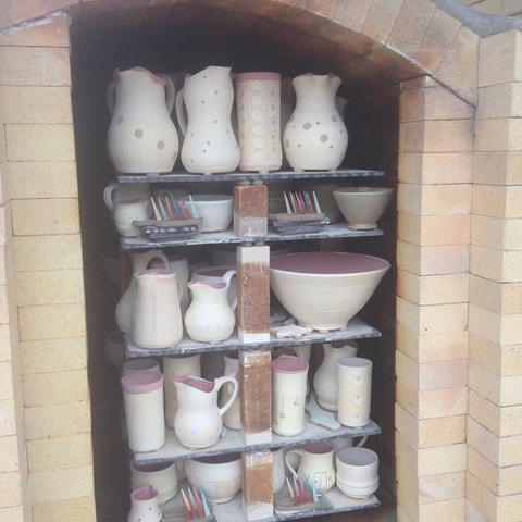 Loaded soda kiln before firing